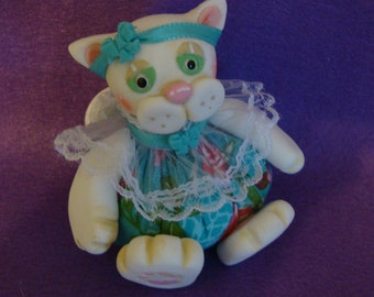 """NEW"""") One-of-a-kind handmade  Cat Pincushion sculpted and designed by Cookiecuttercuties"""