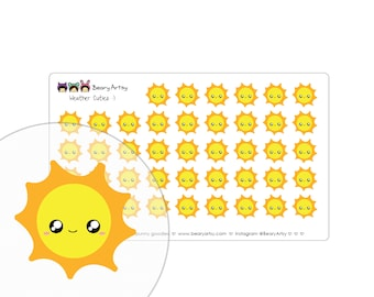 cute weather stickers - planner accessories - handmade - printed and cut - sunny, partly sunny, cloudy, rainy, snowy, windy - custom