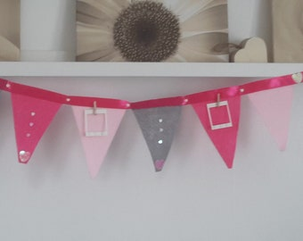 Nursery Bunting Girl Flags Baby Room Decor Photo Frame