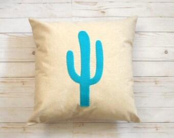 Blue Cactus Pillow Cover, Desert Decor, Succulent, Southwestern Style, Prickly Cactus, Bohemian Decor