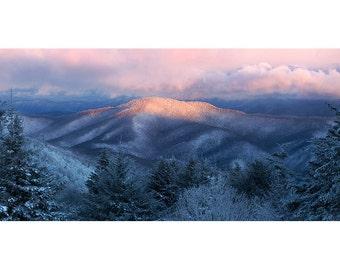 Appalachian Winter, Panorama, Fine Art Print, Sunrise, Landscape Photography, Roan Mountain, Round Bald, Highlands, Photo, Pink, Dawn, AT