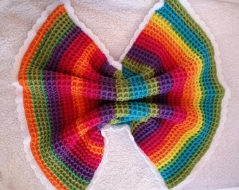 Rainbow Waffle Baby Blanket, Stroller Blanket, Security Blanket.