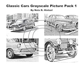 Classic Cars Grayscale Picture Pack 1 Coloring Book PDF Digital Download Vintage Automobiles Antique Autos Hotrods