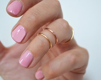 SOLID 14K Gold Knuckle Ring-  Rose Gold or Yellow Gold- Simple Gold Midi Ring, Gold Stacking Ring- sizes 2-11