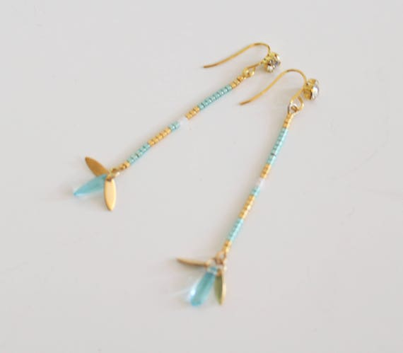Long, minimalist earrings, mini beads, turquoise, gold, white