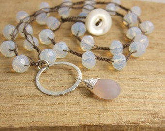 Crocheted Necklace with a Brown Cord, White, Opal Crystal Beads, a Brushed Loop and a Pink Chalcedony Teardrop SN-386
