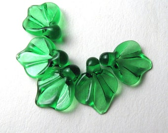 LEAF BEADS, Lampwork Glass Leaves, emerald green glass leaf, autumn leaves, lampwork glass bead, sra lampwork