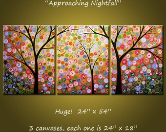 "Extra Large Wall Art Painting Triptych Modern Contemporary Trees Landscape Stars //  24"" x 54"" // Approaching Nightfall, by Amy Giacomelli"