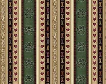 """Paws Fabric: Quilting Treasures It's a Ruff Life Puppy Dog Paw Heart Bones Stripes 100% cotton Fabric by the yard 36""""x43""""  (QT73)"""