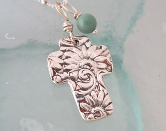 Handcrafted Silver Floral Cross Necklace with Turquoise
