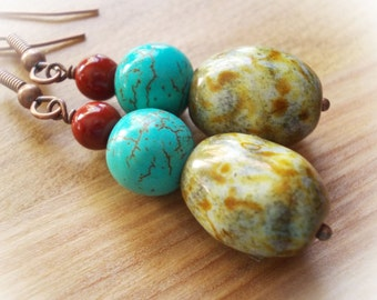 Turquoise and glass beads drop earrings - handmade copper earrings - blue coral red - dangle earrings - rustic jewelry - ethnic - tribal