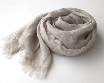 light gray linen scarf, extra long ligtweight gauze