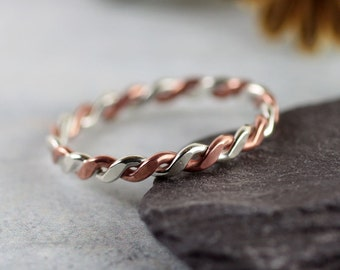 Silver Copper Twist Ring | Mixed Metal | Rope Ring | Stacking Rings | Celtic Ring | Sterling Silver Twisted with Copper