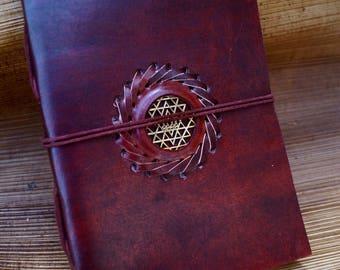 Handmade Camel Leather Notebook with Stone Sri Yantra, 5x7 Inches