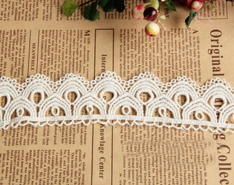 """10 yard 4cm 1.57"""" wide ivory cotton scallop embroidered lace trim ribbon tapes h6t45 free ship"""