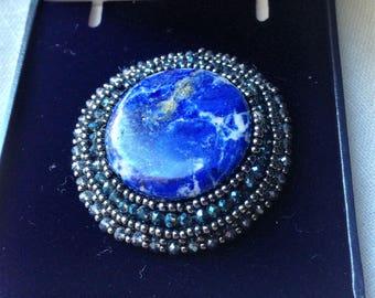 Lapis Lazuli stone brooch