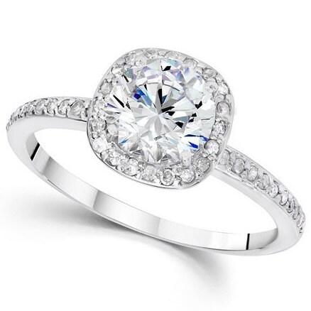 1.25CT Diamond Engagement Ring Cushion Halo Vintage Ring 14 KT White Gold Round Brilliant Cut Vintage Antique