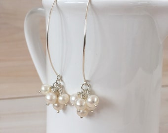White Pearl Cluster Earrings