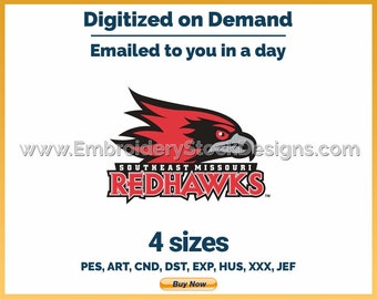 Southeast Missouri Red Hawks - NCAA Sports Logo Embroidery Design - 4 sizes Embroidery