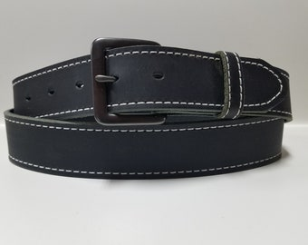 Mens Stitched Black Belt #1632