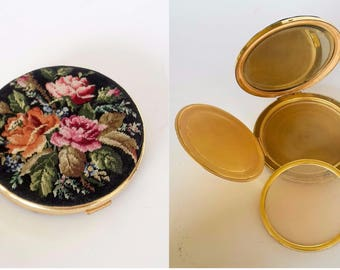 Vintage Refillable Powder Compact, Mirrored Compact Vanity powder box, Floral tapestry compact, embroidery