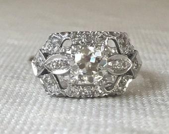 Retro 14k White Gold Diamond Ring