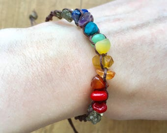 One of a kind rainbow crystal shard and pyrite bracelet with adjustable closure