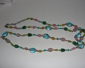 Vintage beaded necklace, pink blue green