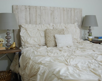 Whitewash Weathered Look - Queen Hanger Headboard with Vertical Boards. Mounts on wall. Adjust height to your convenience. Easy installation
