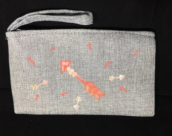 Hand Painted Original Design Coral, White and Gold Arrows on Gray Linen Wristlet