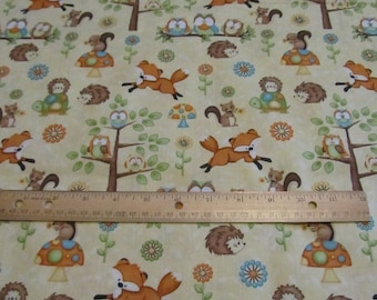 Yellow Woodland/Fox/Possum/Turtle/Owl/Tree Cotton Fabric by the Yard