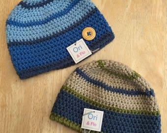 Boys Hat, 1-2 Years boys hat, boys Beanie Hat, toddler hat, vegan toddler hat, vegan friendly hat, boys crochet hat, boys beanie,