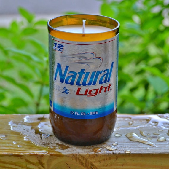 Natural Light (Natty) Beer Bottle Candle made with soy wax