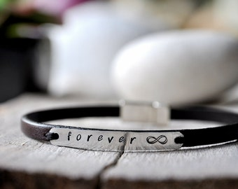 Leather bracelet aluminium and leather with personalised writing, Mens and Unisex, leather anniversary gift