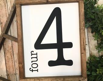 Vintage Flashcard | Number Sign | Flashcard Art | Flashcard Number | Farmhouse Decor | Gallery Wall | Framed Wood Sign