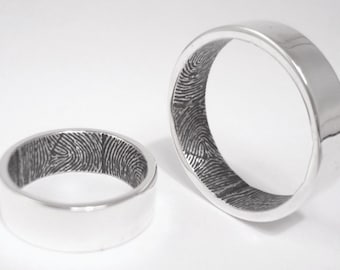 Set of two double print sterling silver fingerprint rings