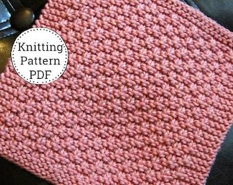 Knit Dishcloth Pattern, Dishcloth Pattern, Knitting Pattern, Dishtowel Pattern, Mini Basket Weavin'