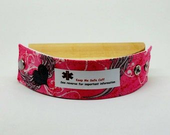 Kid's Medical Alert Bracelet Fabric Wristband You Choose Medical Alert Winged Heart