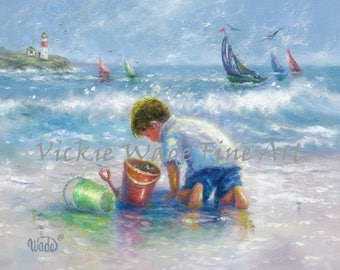 Beach Boy Art Print, beach paintings, boy on beach, beach decor wall art, nautical print, beach children, Vickie Wade art