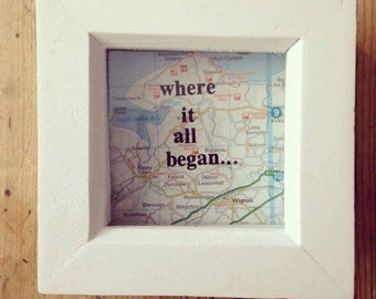 Where it all began personalised  map box frame