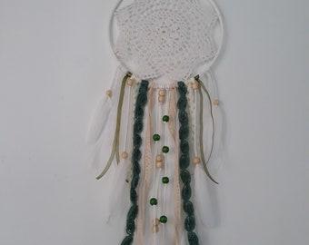 Dreamcatcher White and green, crochet/crochet IndyArt