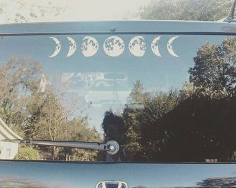 Moon Cycle Car Decal, Lunar Cycle, Astronomy Decal, Moon Sticker, Crescent moon decal, Full Moon, Waxing Gibbous, New Moon, Hipster Modern