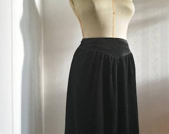Black velvet vintage midi skirt