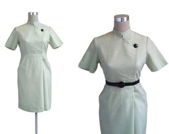 1960's Dress | 60's Dress | Mint Green Dress | Nehru Collar Dress | Green Day Dress | Fitted Dress