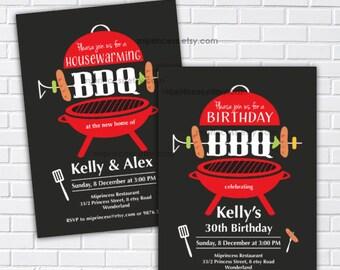 bbq party, bbq invite, birthday bbq, housewarming bbq,  retirement bbq, chalkboard, bbq invite, party invitation, bbq invite,  card 408