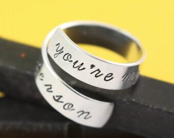 Vous êtes mon anneau personne - vous êtes mon anneau de personne - Wrap - Twist Bague réglable du Couple bague - bague en argent - - BFF cadeau -
