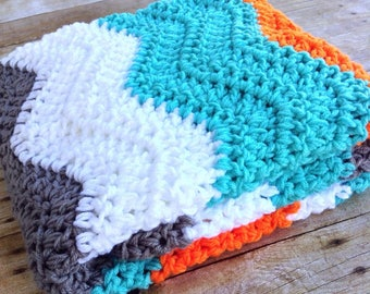 Baby Afghan - Crochet Baby Blanket - Baby Blanket Crochet - Baby Girl or Boy - Turquoise Orange Grey White - Chevron Baby Blanket