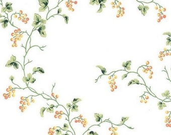 Berries on The Vine Wallpaper - Shabby Country, Chic Cottage, Primitives, Berry, Trail - Handpainted, Botanical - By The Yard - LY4434