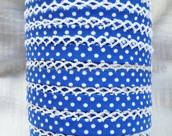 Double Fold Bias Tape - Royal Blue Polka Dot - Crochet Bias Tape - Picot Bias Tape - Polka Dot Sewing Binding - Blue Crochet Ribbon - Zakka