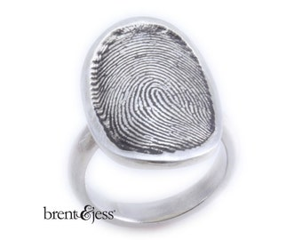 Sterling Silver Custom Signet Fingerprint Ring with Half Round 4mm Shank
